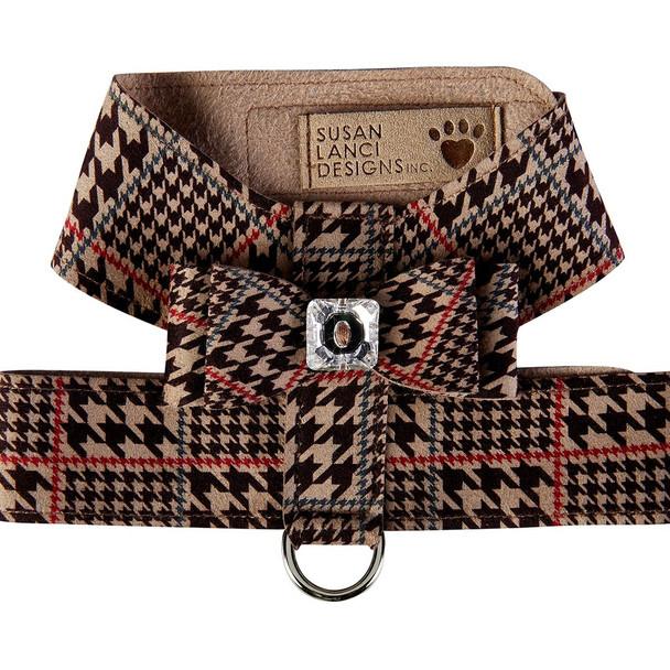 Custom - Chocolate Houndstooth Big Bow Tinkie Dog Harness