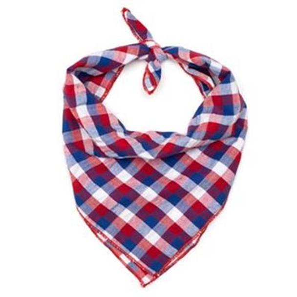 Red/White/Blue Check Dog Tie Bandana
