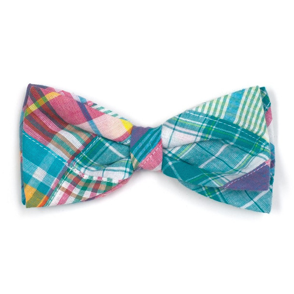 Turquoise Patch Madras Pet Dog Bow Tie