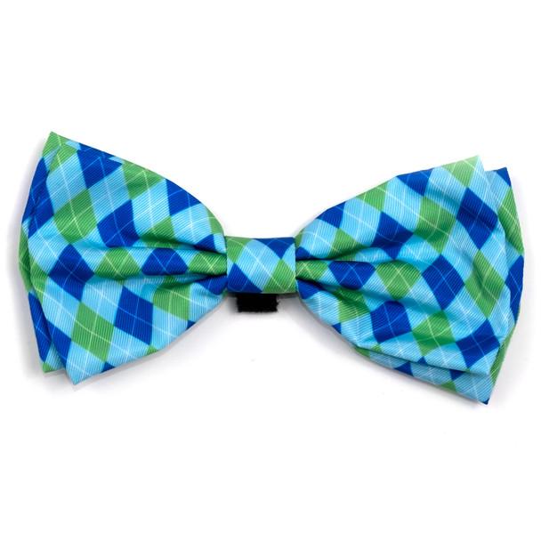 Preppy Argyle Blue Pet Dog Bow Tie