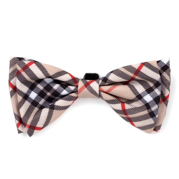 Bias Plaid Tan Pet Dog Bow Tie