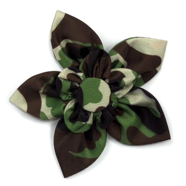 Camo Brown Pet Dog Collar Flower