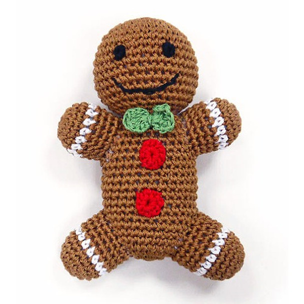Gingerbread Man Crocheted PAWer Squeaker Dog Toy