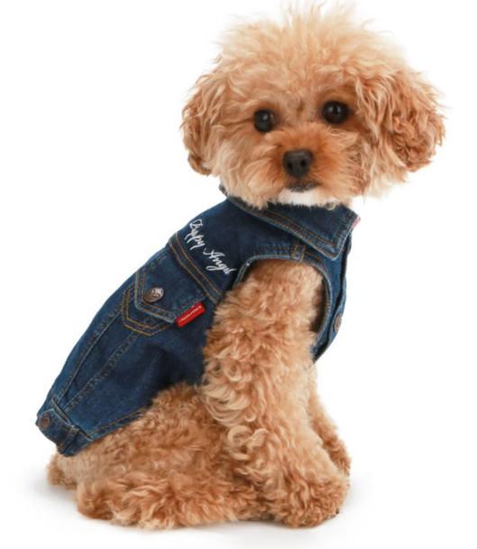 Puppy Angel Embroidered Denim Dog Jacket - Blue
