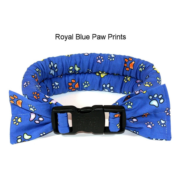Too Cool Cooling Dog Collars -Royal Blue Paw Print