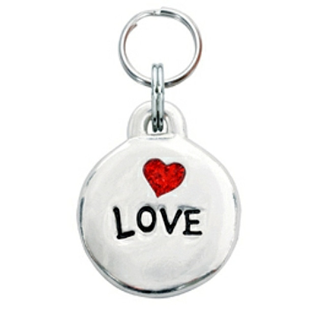 Pewter Engravable Pet ID Tag - Love & Heart