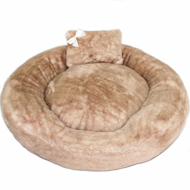Designer Teddy Bear Dog Bed - Round