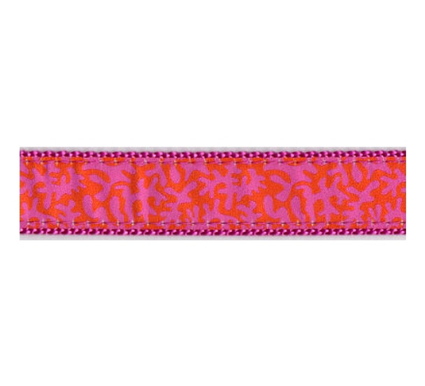 Dog Collar - Orange & Raspberry Coral -  3/4 & 1 1/4
