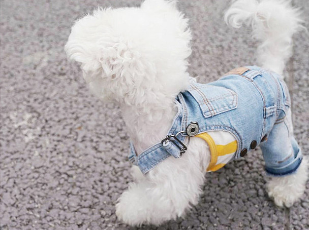 Puppy Angel Geolgine Daily Denim Overall Dog Pants - Lt Blue