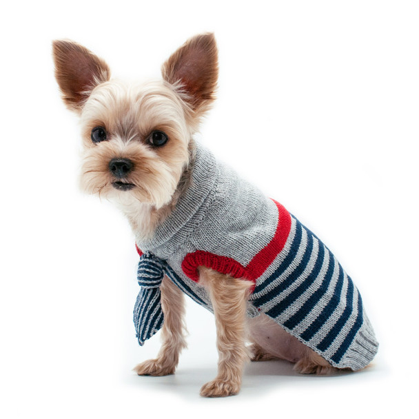 Preppy Necktie Dog Sweater - Blue
