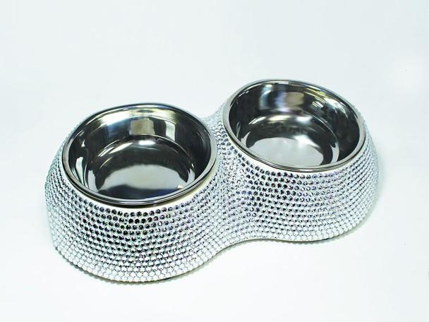 Designer Posh Crystal Dining Dog Bowl - Silver