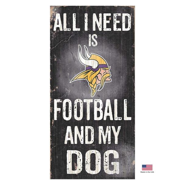 Minnesota Vikings Distressed Football And My Dog Sign
