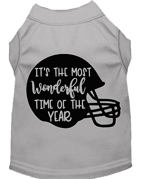 Most Wonderful Time Of The Year (football) Screen Print Dog Shirt - Grey