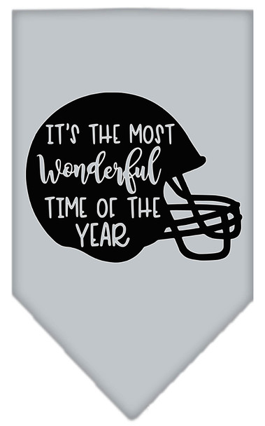 Most Wonderful Time Of The Year (football) Screen Print Bandana - Grey