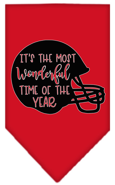 Most Wonderful Time Of The Year (football) Screen Print Bandana - Red