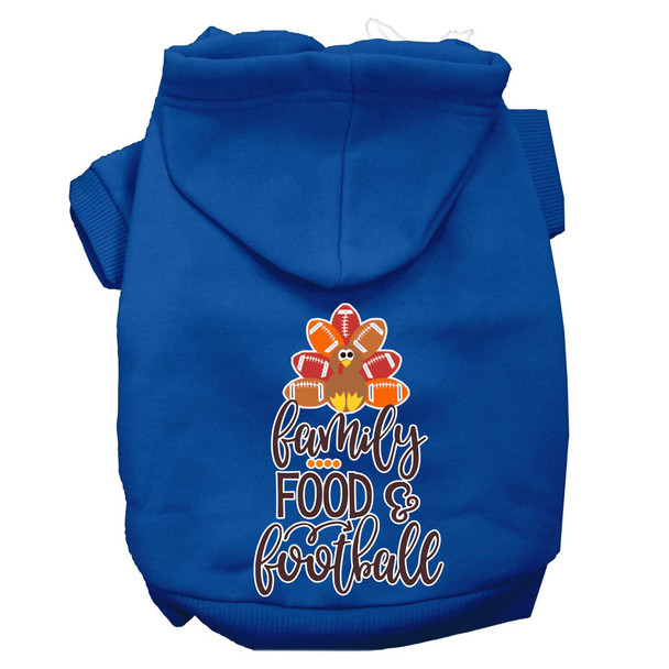 Family, Food, And Football Screen Print Dog Hoodie - Blue