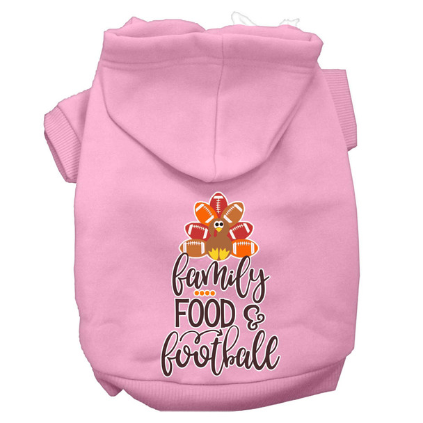Family, Food, And Football Screen Print Dog Hoodie - Light Pink
