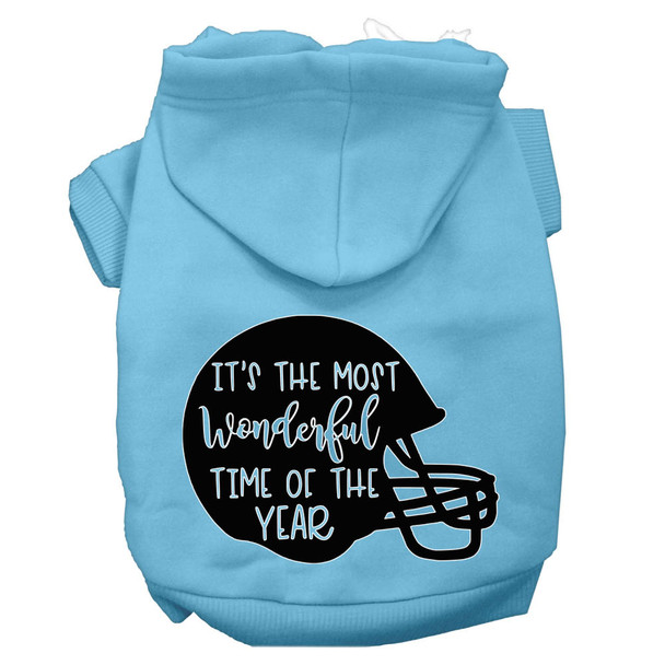 Most Wonderful Time Of The Year (football) Screen Print Dog Hoodie - Baby Blue