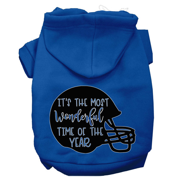 Most Wonderful Time Of The Year (football) Screen Print Dog Hoodie - Blue