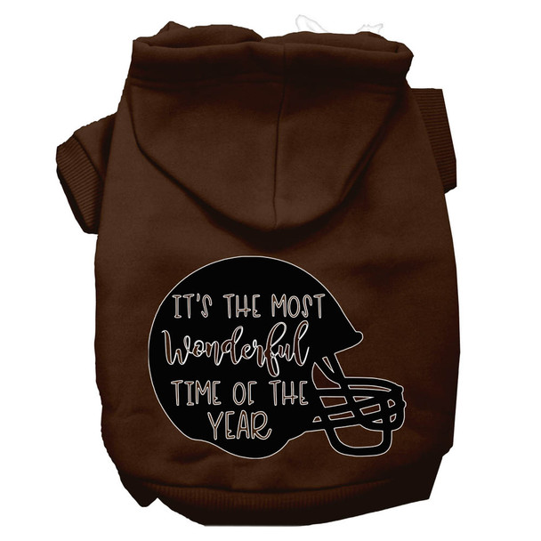 Most Wonderful Time Of The Year (football) Screen Print Dog Hoodie - Brown