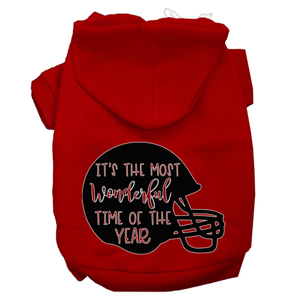 Most Wonderful Time Of The Year (football) Screen Print Dog Hoodie - Red