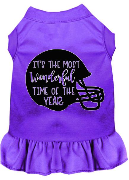Most Wonderful Time Of The Year (football) Screen Print Dog Dress - Purple