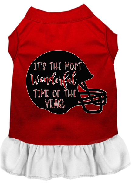 Most Wonderful Time Of The Year (football) Screen Print Dog Dress - Red With White