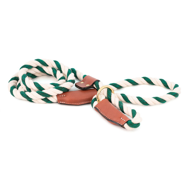 Cotton Rope Slip Leash with Leather Accents - Green & White