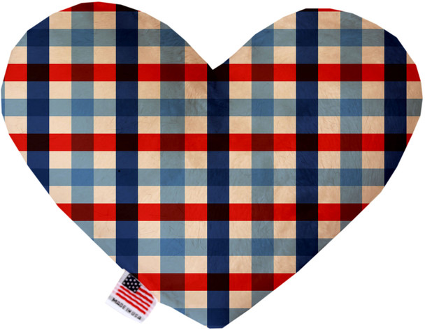 Patriotic Plaid Heart Dog Toy, 2 Sizes