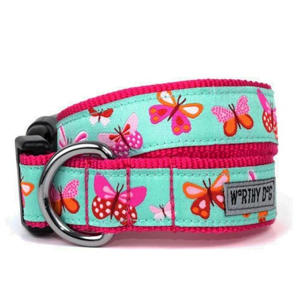 Butterflies Pet Dog Collar & Optional Lead