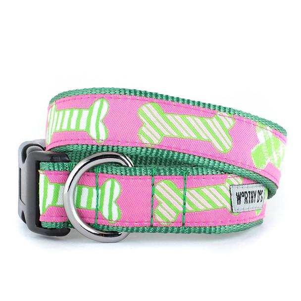 Preppy Bones Pink Pet Dog Collar & Lead