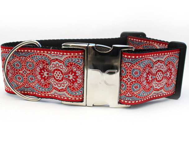 Kashmir Empress Red Extra Wide Dog Collar - Personalized Buckle