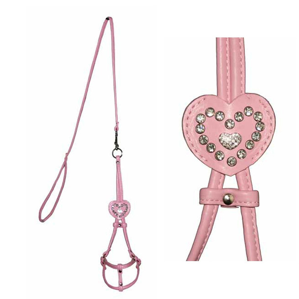 Pink Heart Charm Dog Step In Harness