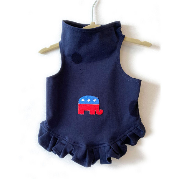 Republican Elephant on Navy Dog Dress