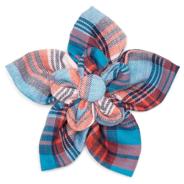 Cornflower Blue & Red Plaid Pet Dog Collar Flower