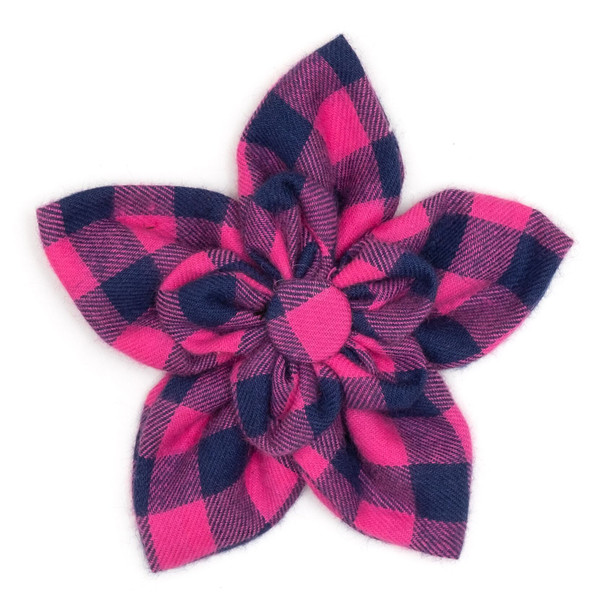 Pink & Navy Buffalo Check Pet Dog Collar Flower