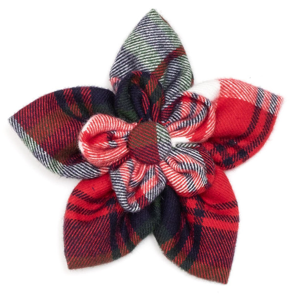 Red, Green & Navy Pet Dog Collar Flower