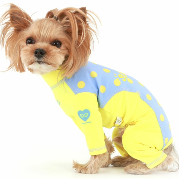 Puppy Angel Dot Rash Guard OVERALL 1 - Yellow/Blue