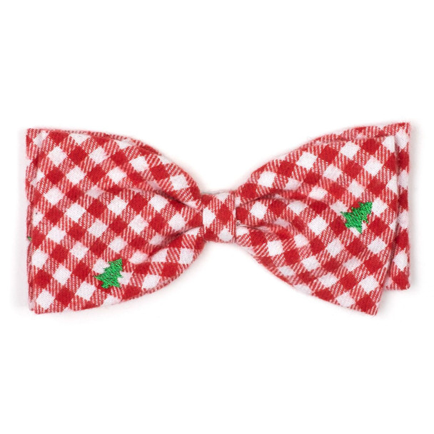 Christmas Check Trees Dog Bow Tie
