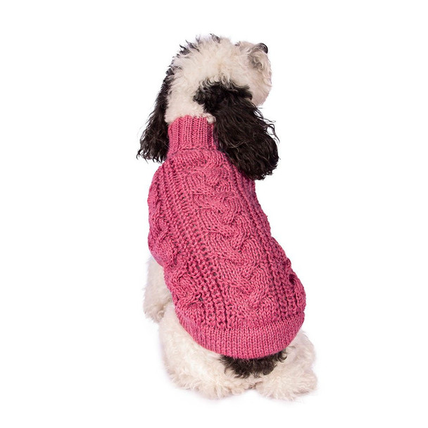 Alpaca Dog Sweater - Chunky Cable Pink