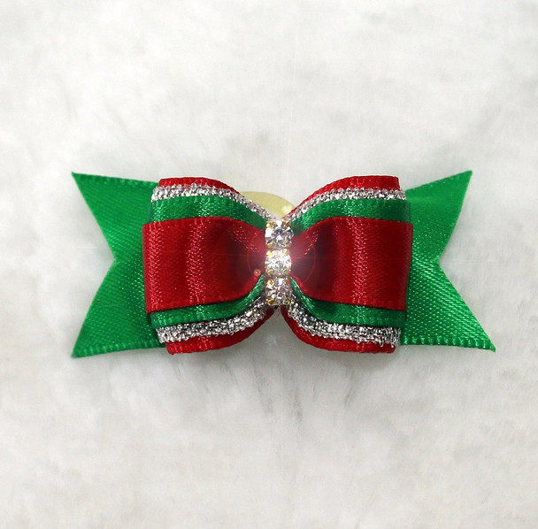 Christmas Three Crystal Bow by Hello Doggie