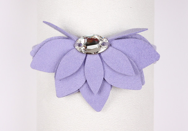 Water Lily Ultrasuede Dog Collar by Susan Lanci - French Lavender - In Stock