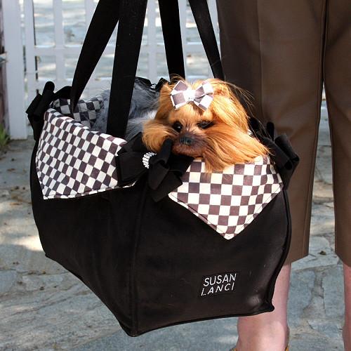 Windsor Check Black Nouveau Bow Luxury Dog Purse / Carrier