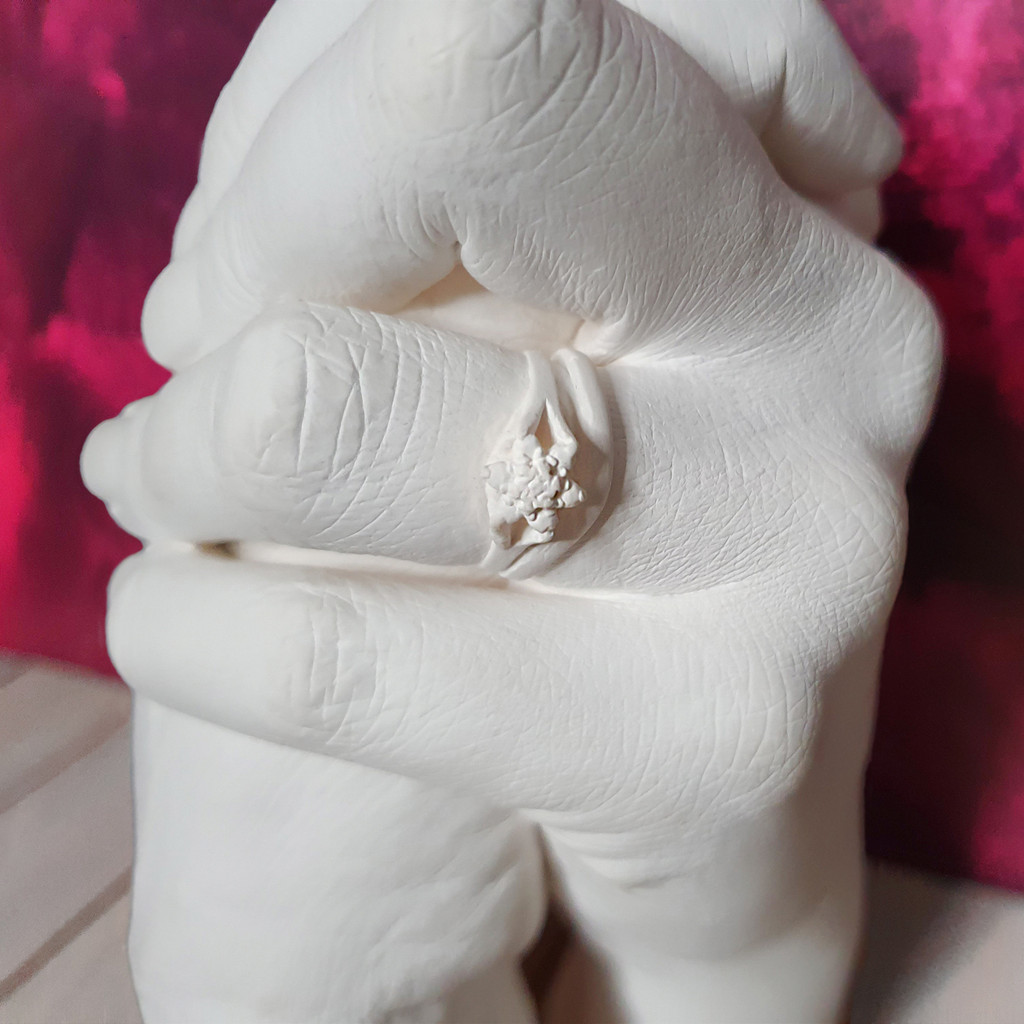 Couple Hand Cast ring detail