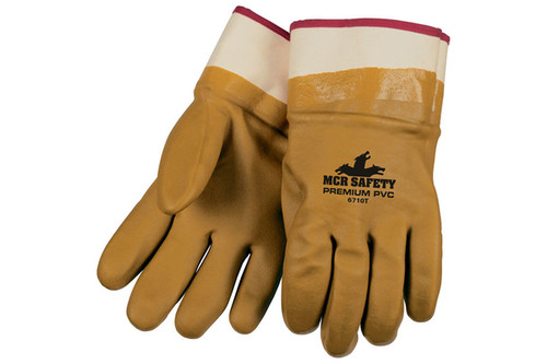 Foam lined tan PVC safety glove