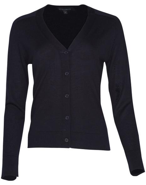M9602 - Women's V-Neck Long Sleeve Cardigan