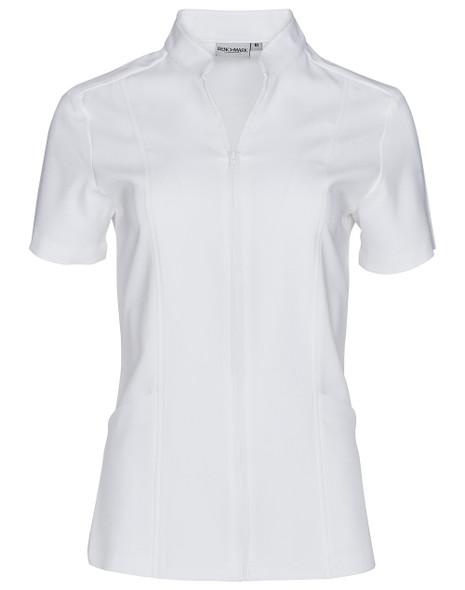 M8636S - Women's Full Zip Front Short Sleeve Tunic
