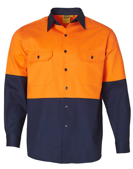 SW54 - Long Sleeve Cotton Drill Safety Shirt