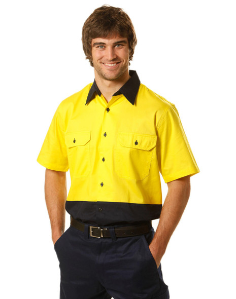 SW57 - Mens High Visibility Cool-Breeze Cotton Twill Safety Shirt