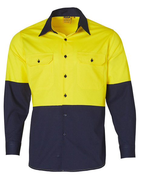 SW58 - Mens High Visibility Cool-Breeze Cotton Twill Safety Shirt